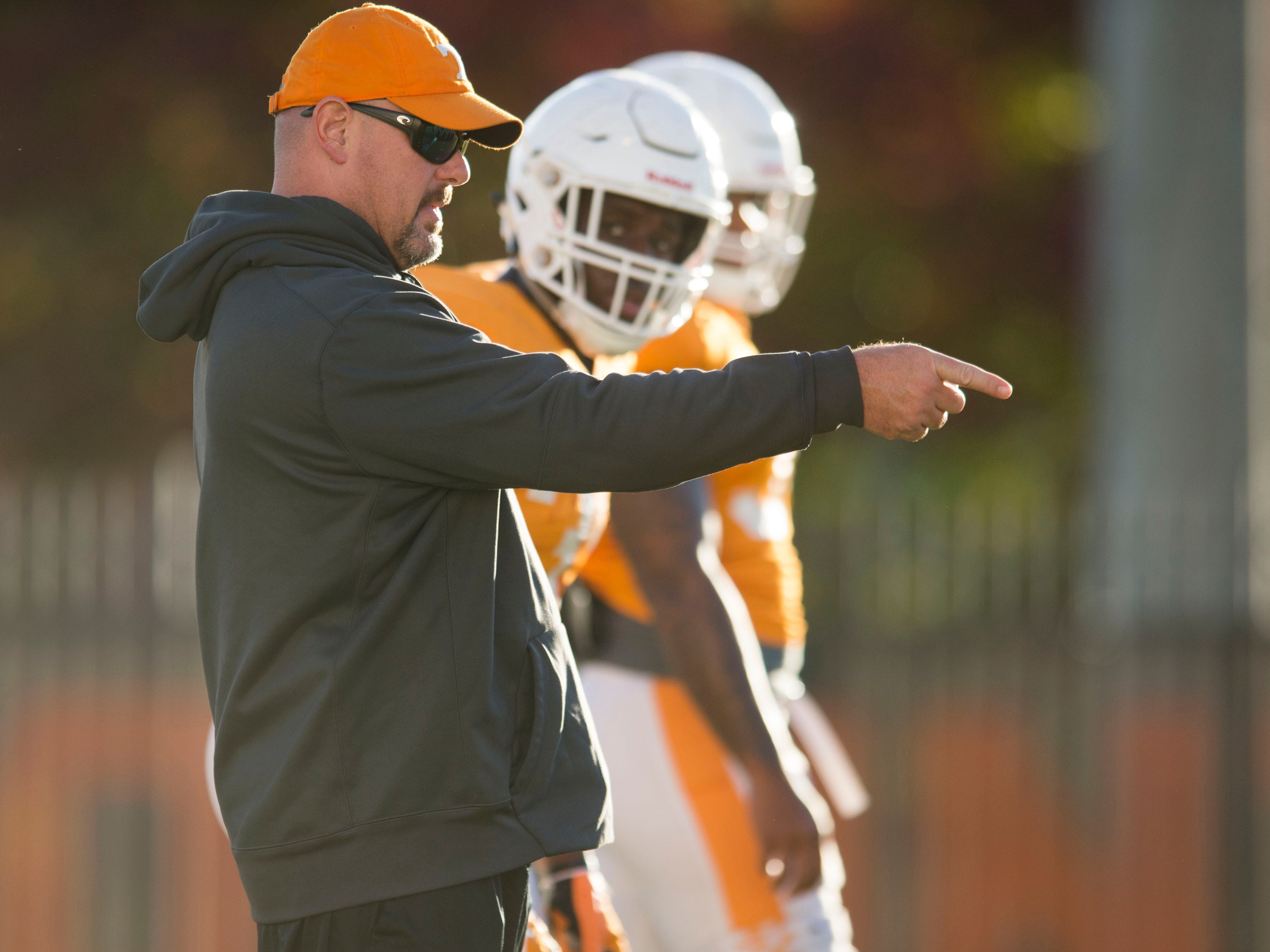 Tennessee Co-Defensive Coordinator and Inside Linebackers Coach Kevin Sherrer at football practice on Tuesday, November 6, 2018.