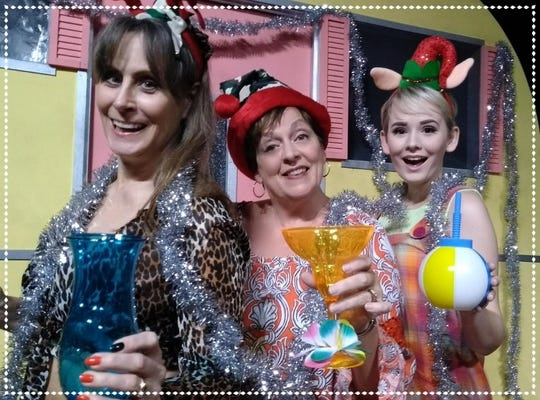 """Chevy Anz, left, Dana Wham and Kadi Brazil celebrate the holiday in the Flying Anvil Theatre's """"Great American Trailer Park Christmas Musical."""""""