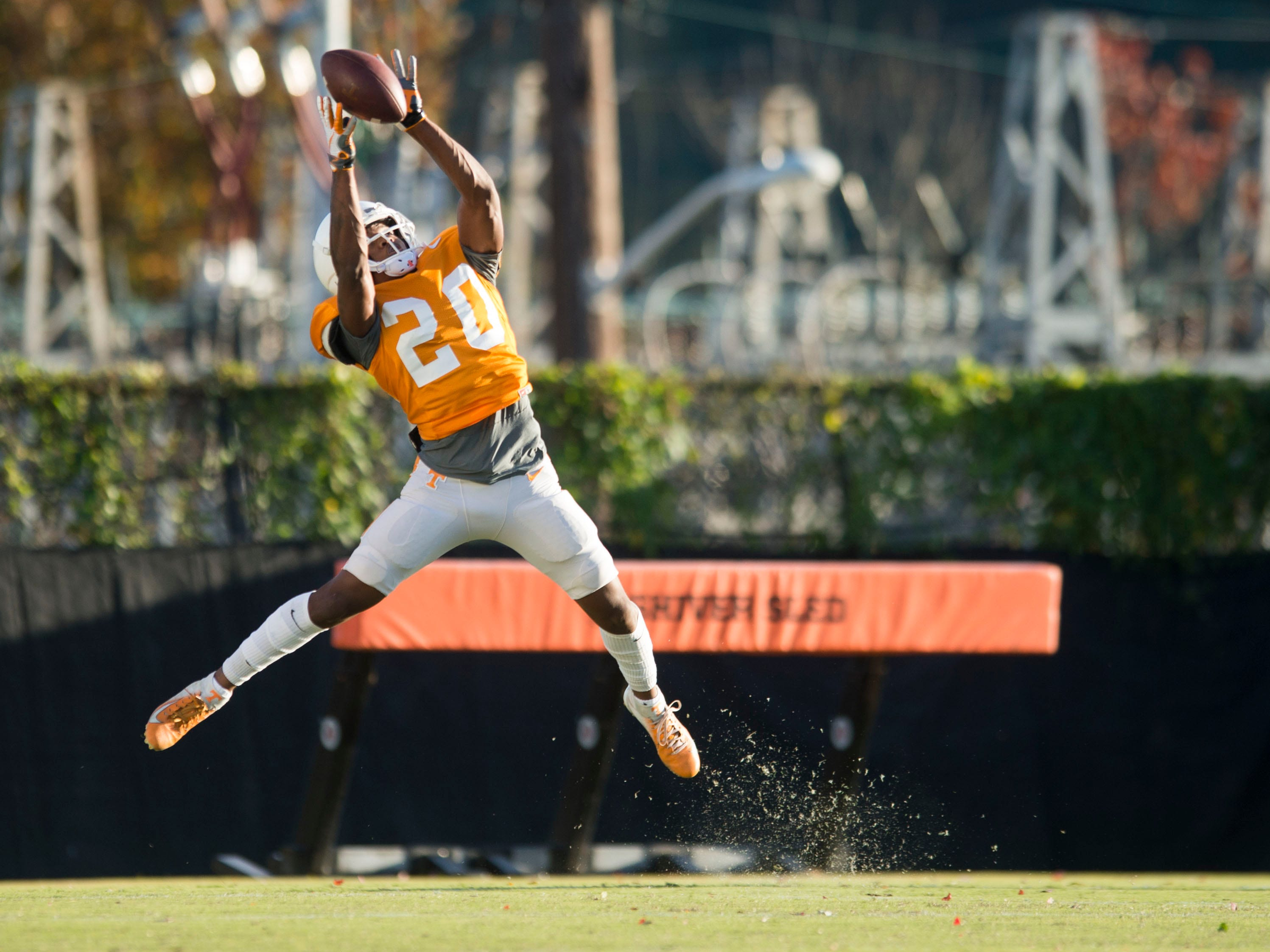 Tennessee defensive back Bryce Thompson (20) during  football practice on Tuesday, November 6, 2018.