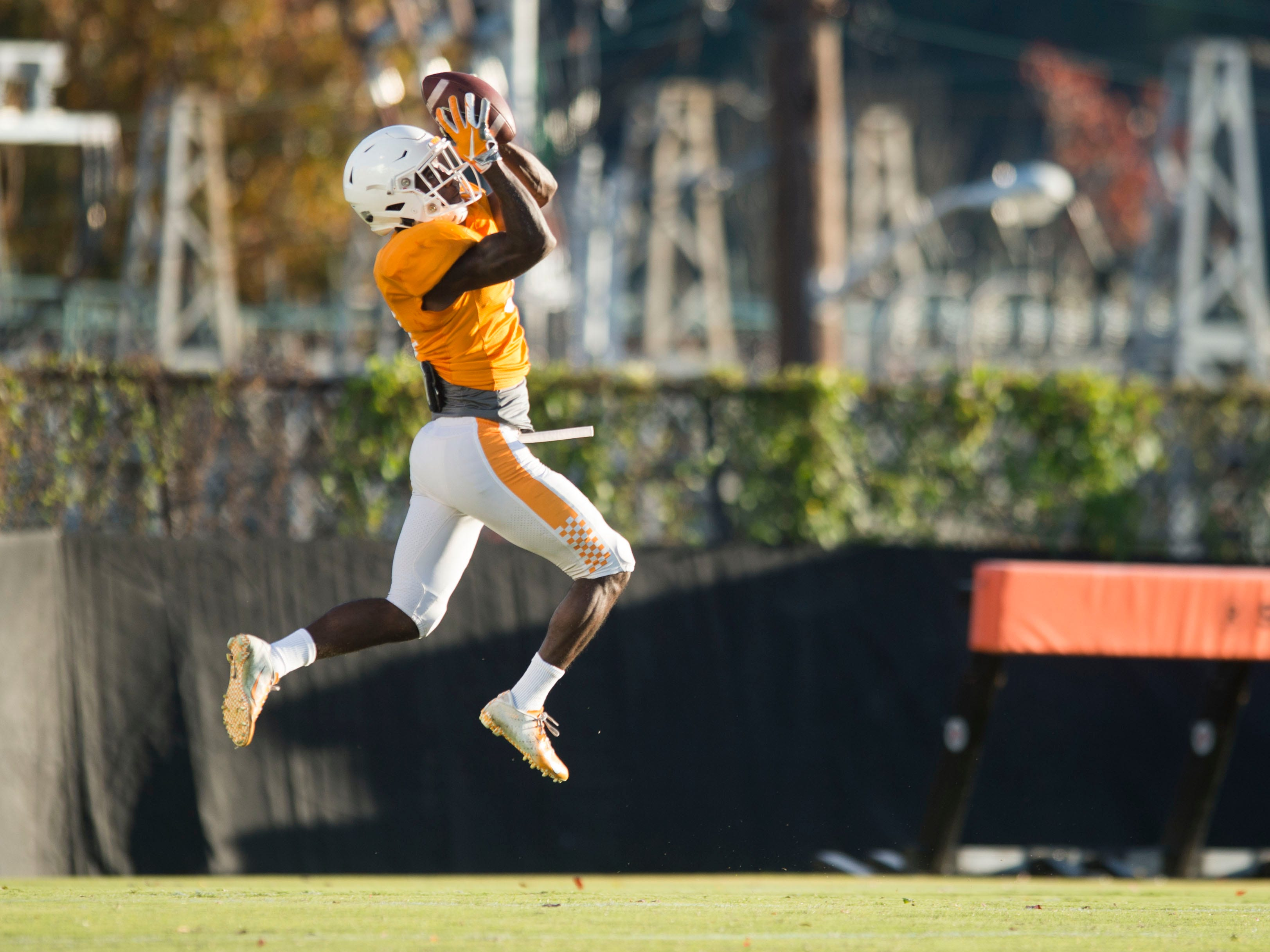 Tennessee defensive back Marquill Osborne (3) at football practice on Tuesday, November 6, 2018.