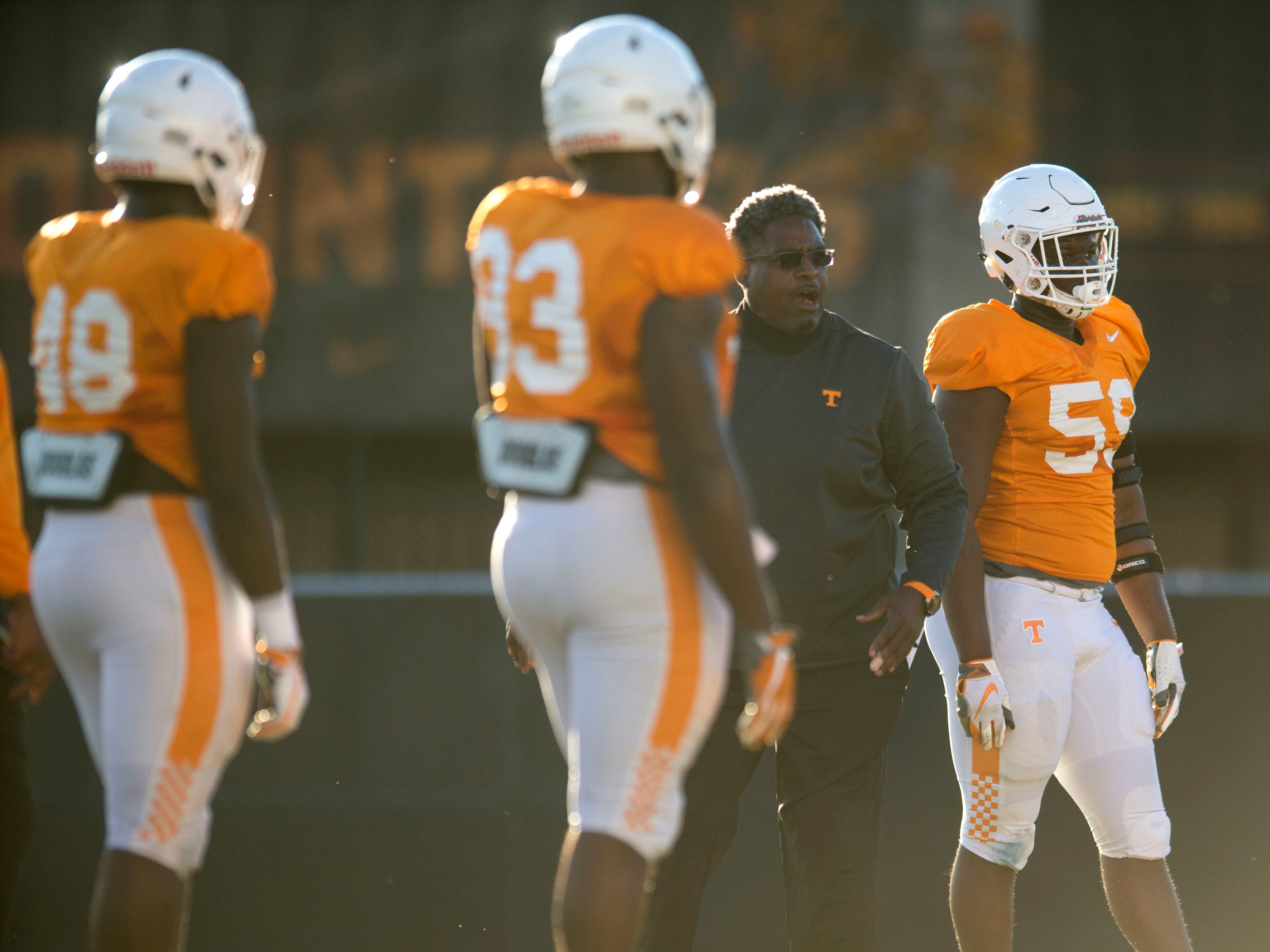 Tennessee Defensive Line Coach Tracy Rocker at football practice on Tuesday, November 6, 2018.