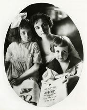 To combat the idea that suffragettes were anti-family, Anne Dallas Dudley circulated this softly lit photograph of herself holding her two young children in suffragette publications. The photo is now included in the Tennessee Encyclopedia of History and Culture.