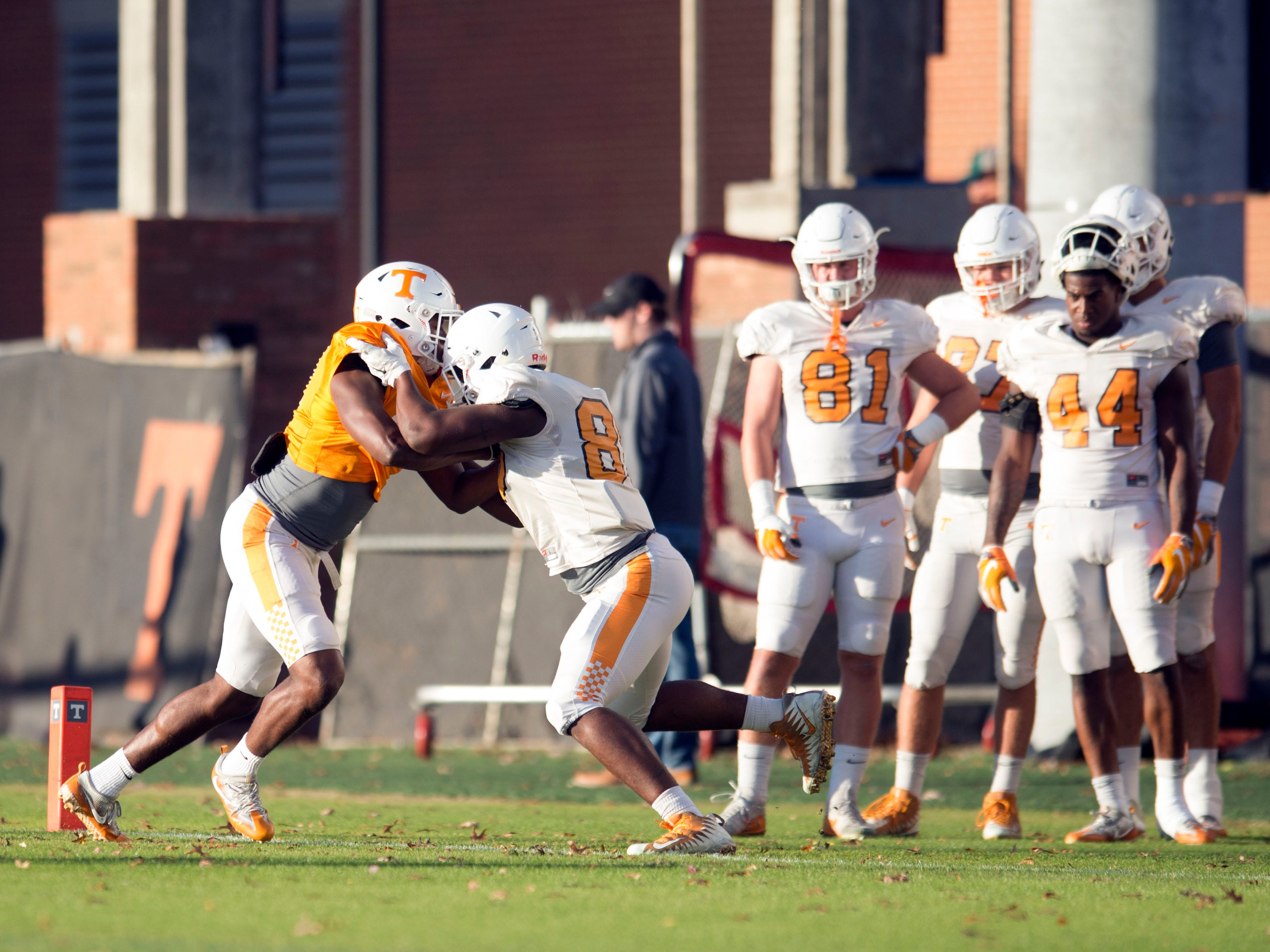 Tennessee tight ends run drills during football practice on Tuesday, November 6, 2018.