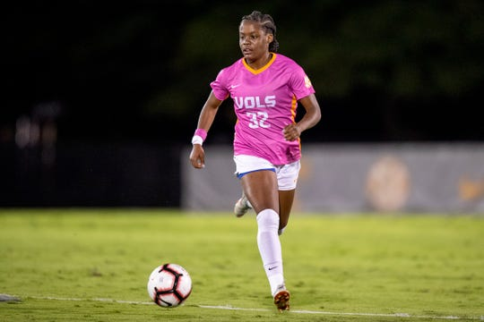 Maya Neal of Tennessee looks to make as pass against LSU during a game at Regal Soccer Stadium in Knoxville on Oct. 18, 2018.