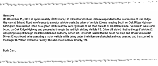 "The narrative section of the first crash report says Vehicle #1, David Henderson, ""proceeded through the red light,"" striking Vehicle #2, Kala Lamb."