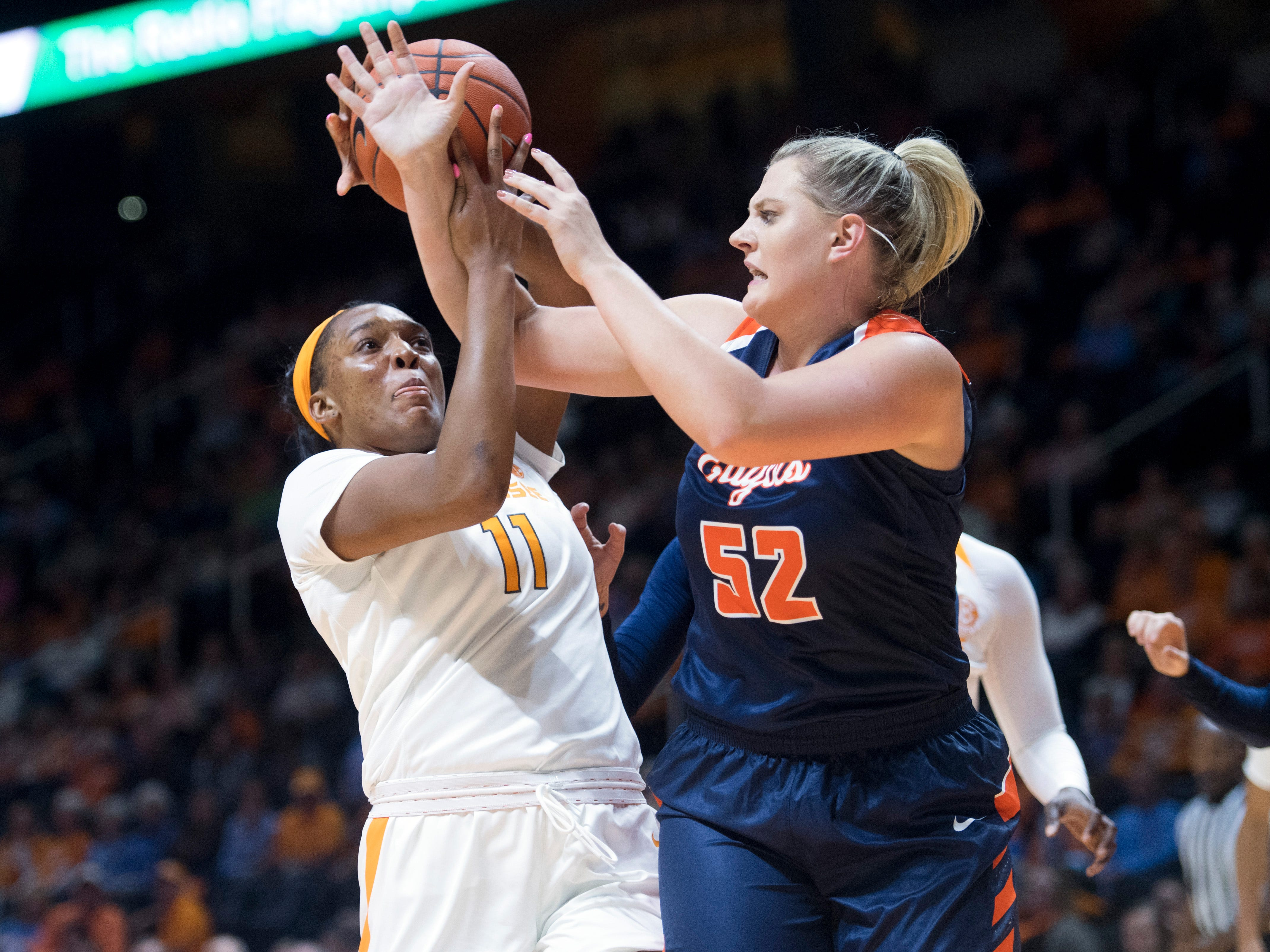 Tennessee's Kasiyahna Kushkituah and Carson-Newman's Sydney Pearce fight for a rebound during an exhibition game at Thompson-Boling Arena on Monday, November 5, 2018.