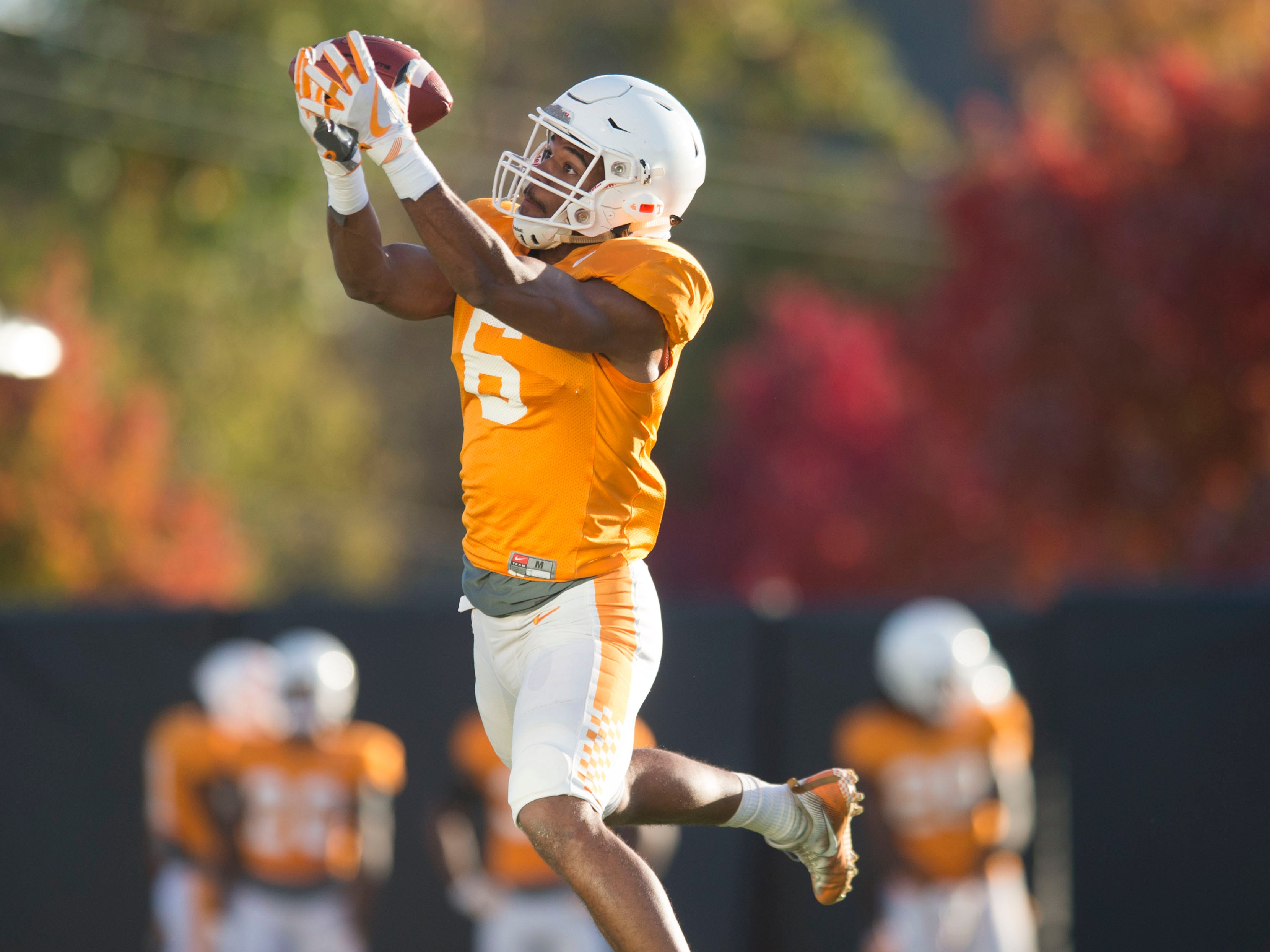 Tennessee defensive back Alontae Taylor (6) at football practice on Tuesday, November 6, 2018.