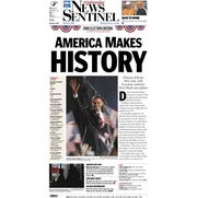 Front page of the Knoxville News Sentinel on Wednesday, Nov. 5, 2008.