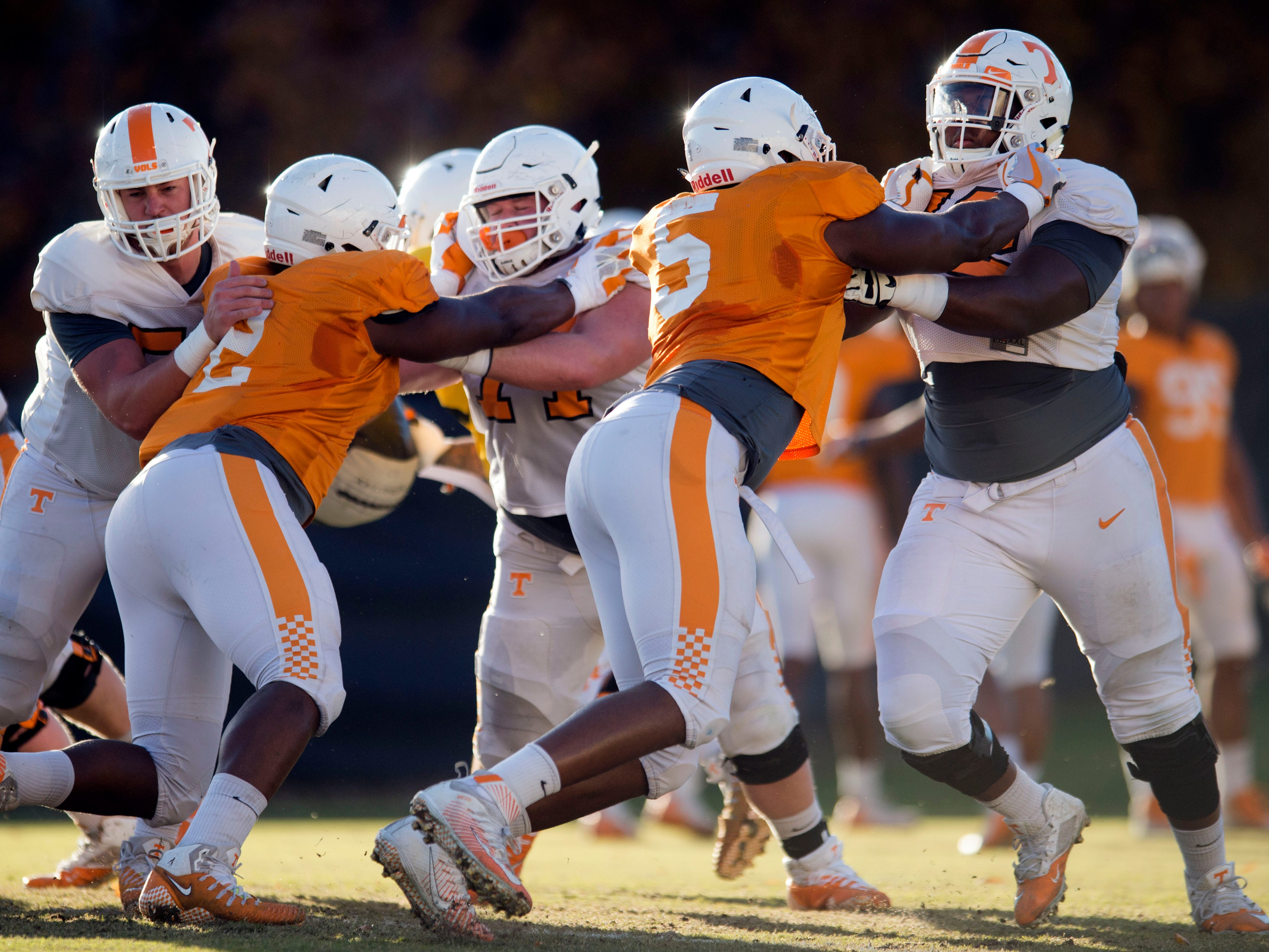 Tennessee linemen drill at football practice on Tuesday, November 6, 2018.