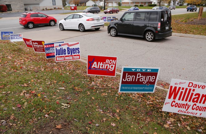 A steady line of traffic heads in and out of Lafayette Fire Department Station 5 during the election Tuesday, November 6, 2018, in Lafayette.