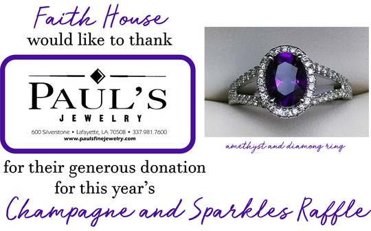 Amethyst and diamond ring being raffled at the annual Faith House Gala