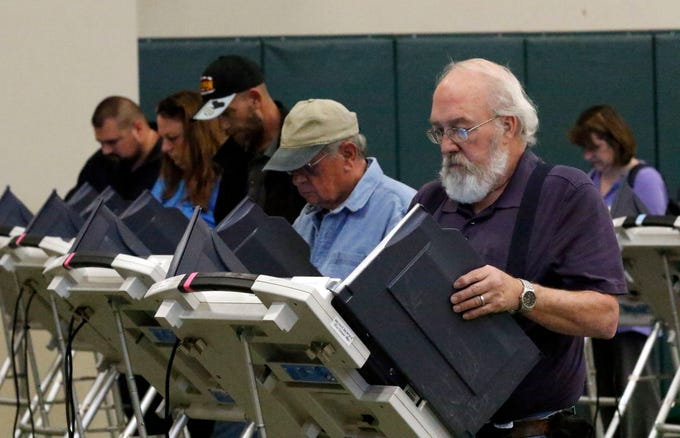 Jerald Orth, right, from Lancaster, votes in the midterm elections Tuesday, Nov. 6, 2018, at the Crossroads Ministry Center in Lancaster.