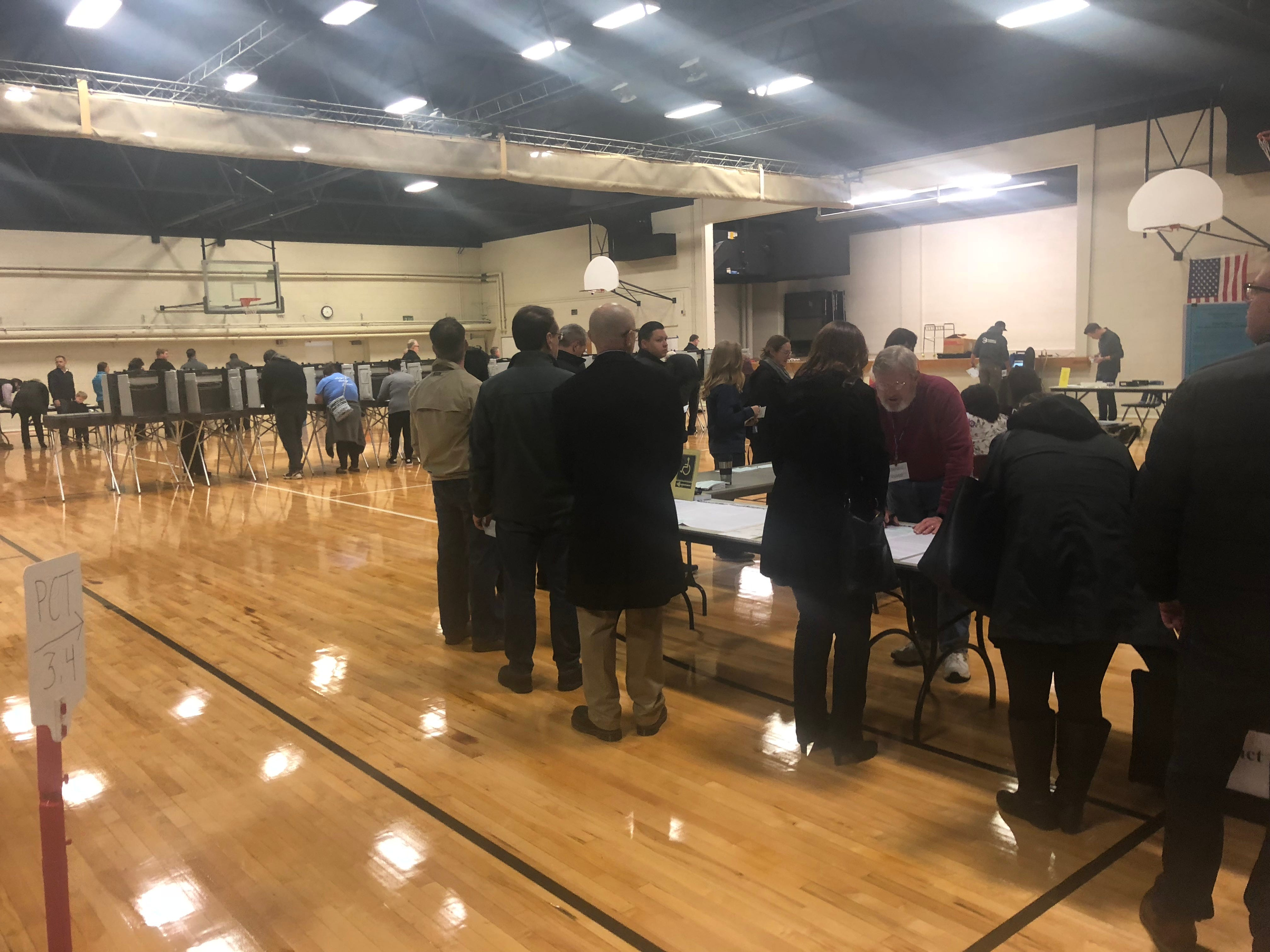 Voters at the Brighton Educational Community Center, home of precincts 3 and 4, on Tuesday morning, Nov. 6, 2018.