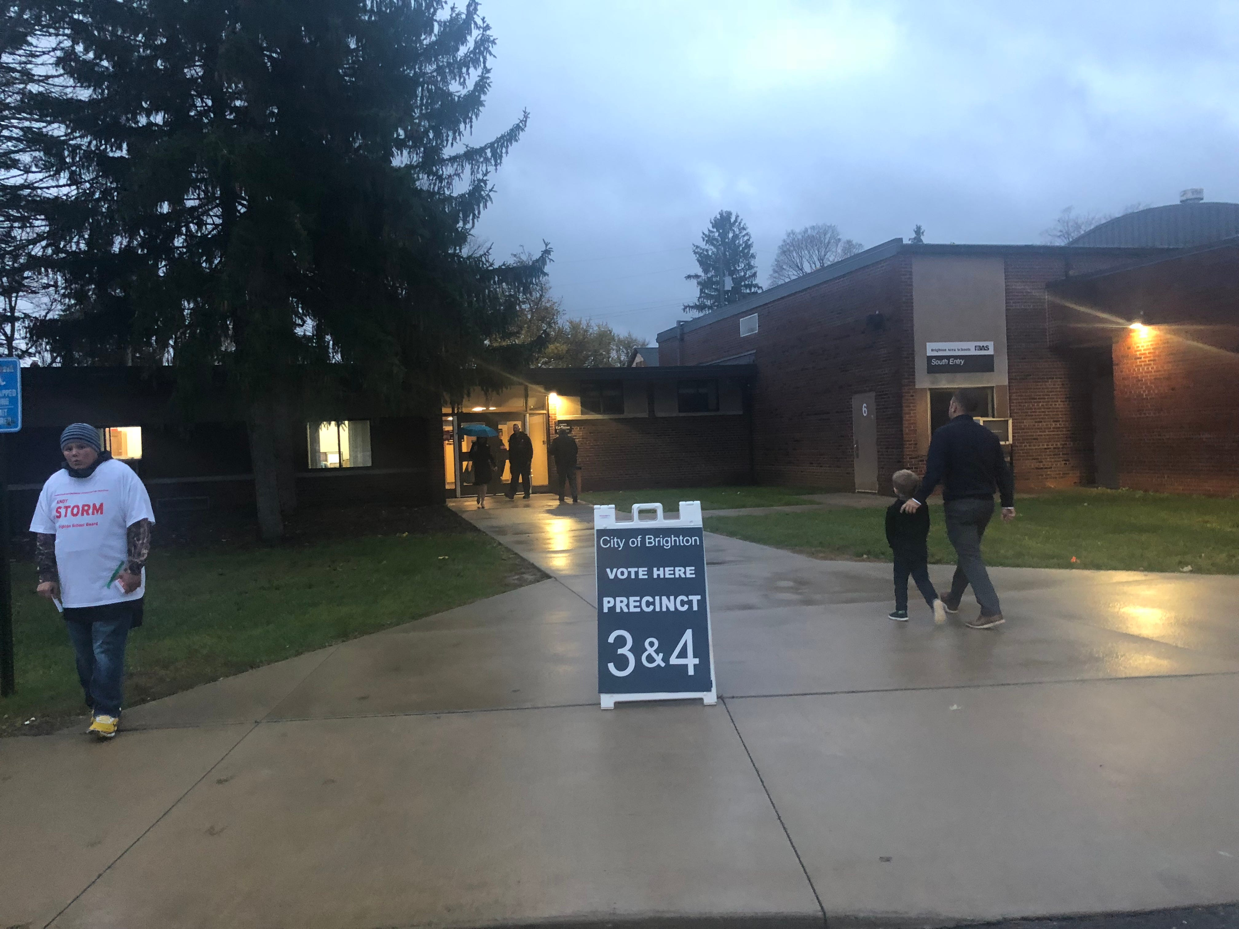 Voters (and future voters) enter the Brighton Education Community Center early Tuesday morning, Nov. 6, 2018.