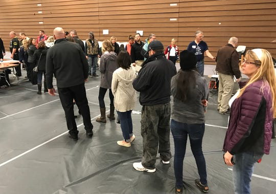 A line of voters moves fairly quickly at Hartland's precinct 2 at the Hartland Educational Support Service Center Tuesday, Nov. 6, 2018, which houses five precincts.