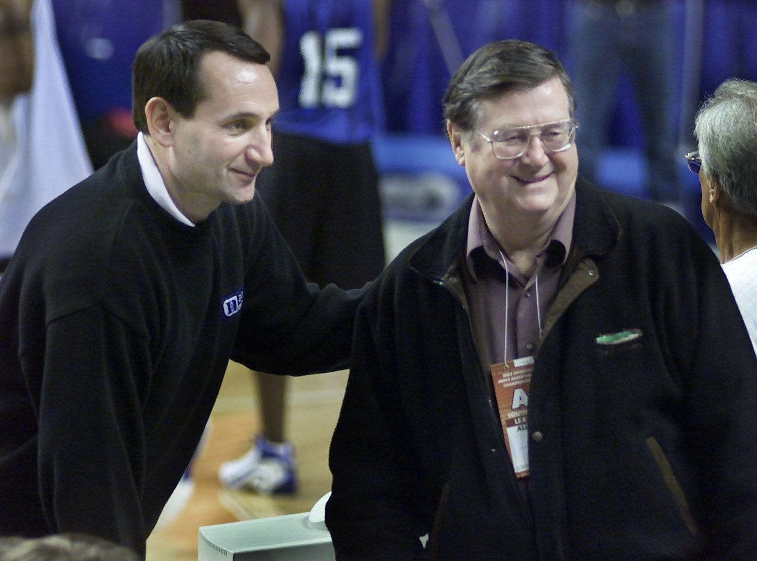 Two days before UK rivals Duke and Indiana meet in Rupp Arena, Blue Devils coach Mike Krzyzewski, left, schmoozed with former UK coach Joe B. Hall.
