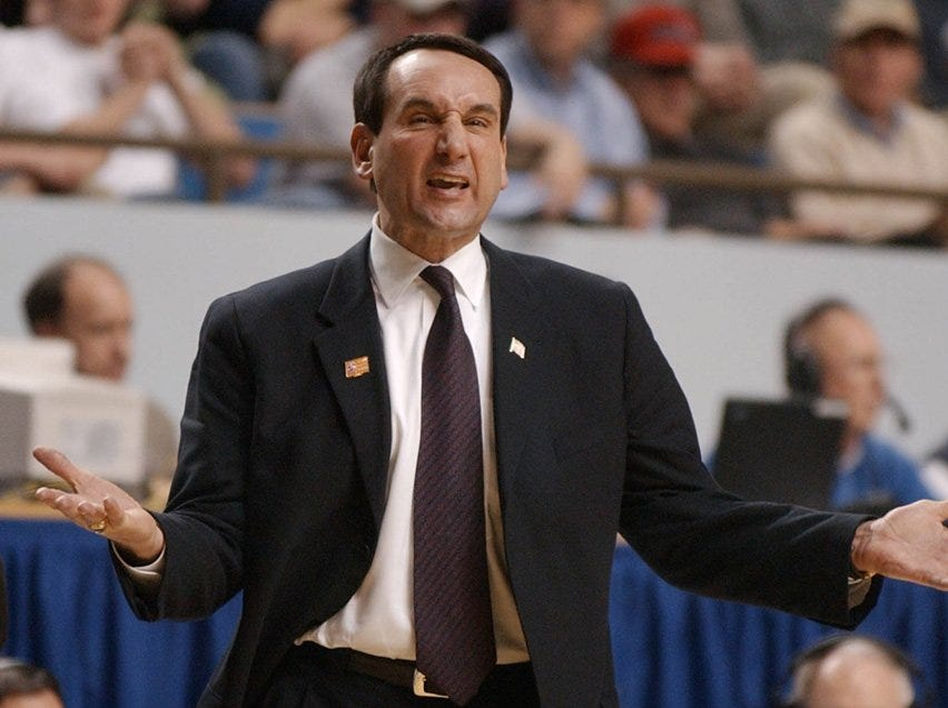 Duke coach Mike Krzyzewski complains to the refs about a call in the first half.