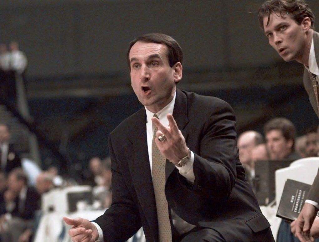 Duke coach Mike Krzyzewski shouts instructions to his team during the first half of their NCAA South Regional Final against Kentucky, in St. Petersburg, Fla., in this March, 22, 1998 photo. The top-ranked Blue Devils will play No. 14 North Carolina on Saturday, Feb. 26, 1999 at the Smith Center, in Chapel Hill.
