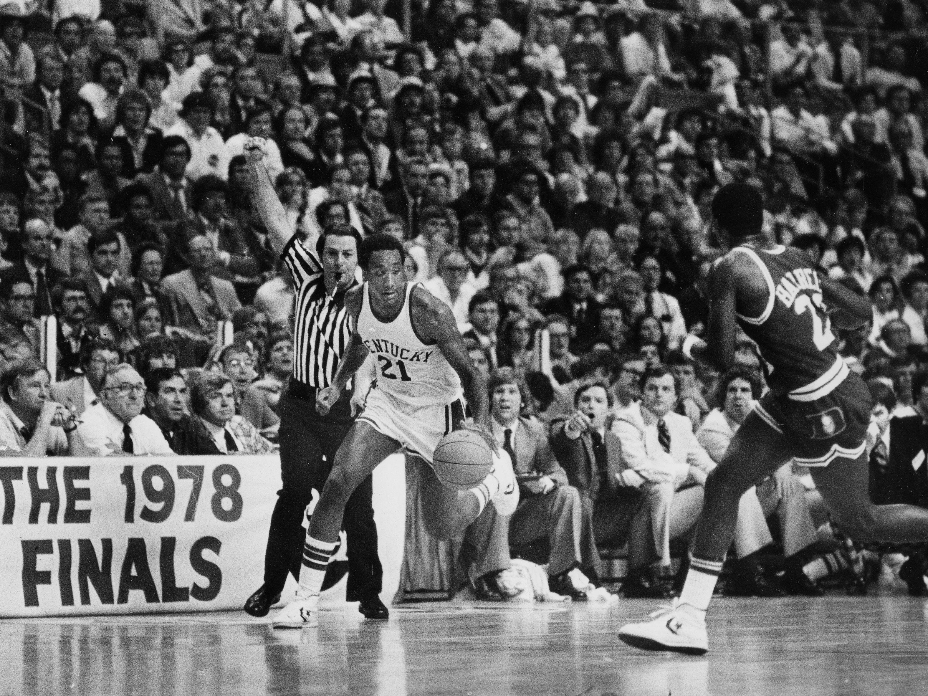 Kentucky's Jack Givens (#21) drives against Duke in the 1978 NCAA championship game.