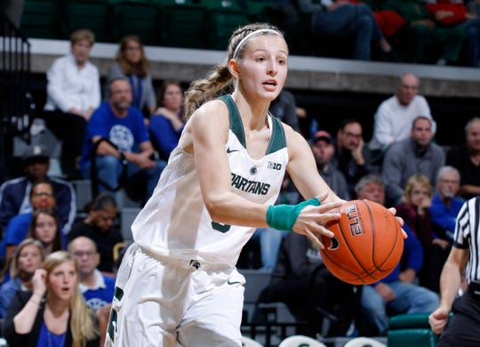 Michigan State's Claire Hendrickson drives against Hillsdale, Thursday, Nov. 1, 2018, in East Lansing, Mich.
