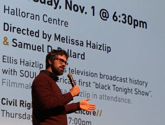 """Support the Girls"" director Andrew Bujalksi, Monday night at the Halloran Centre."
