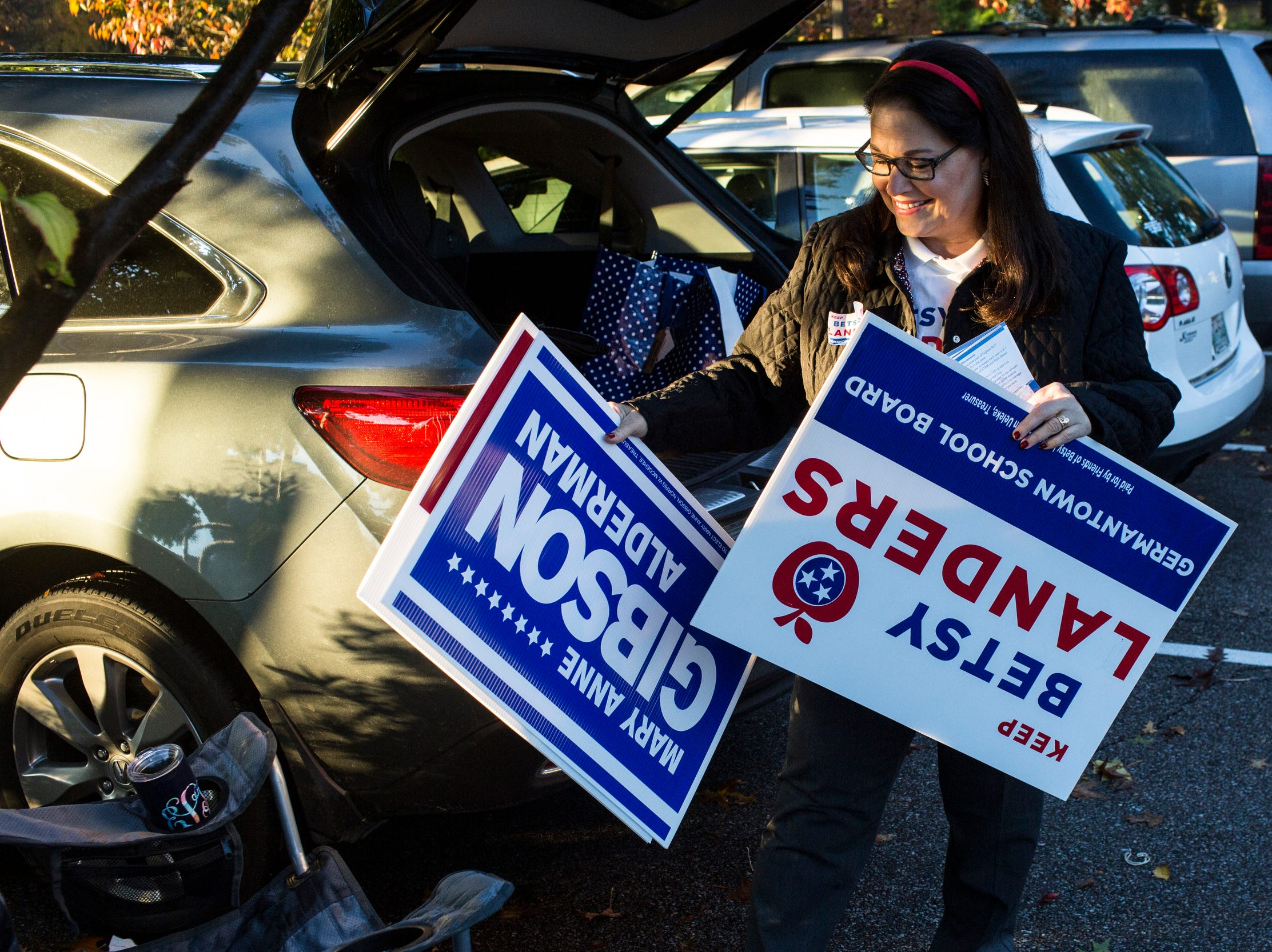 November 06 2018 - Betsy Landers campaigns outside of a voting location at Riveroaks Reformed Presbyterian church in Germantown on Election Day.