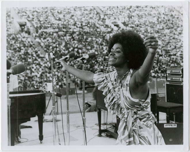 With an afro in place of the coiffed hairdos she wore when she was Stax Records' first superstar, Carla Thomas  was an embodiment of the new Stax when she performed in front of 112,000 people at the August 1972 Wattstax Festival at the Los Angeles Memorial Coliseum.