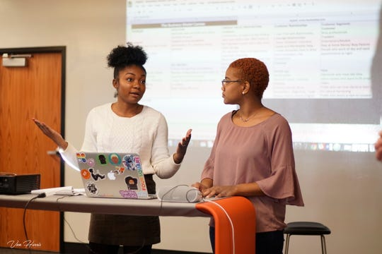 Chantel Teague (left) and Emani Taylor pitch their company, StyleQ, during a Cultivator session.