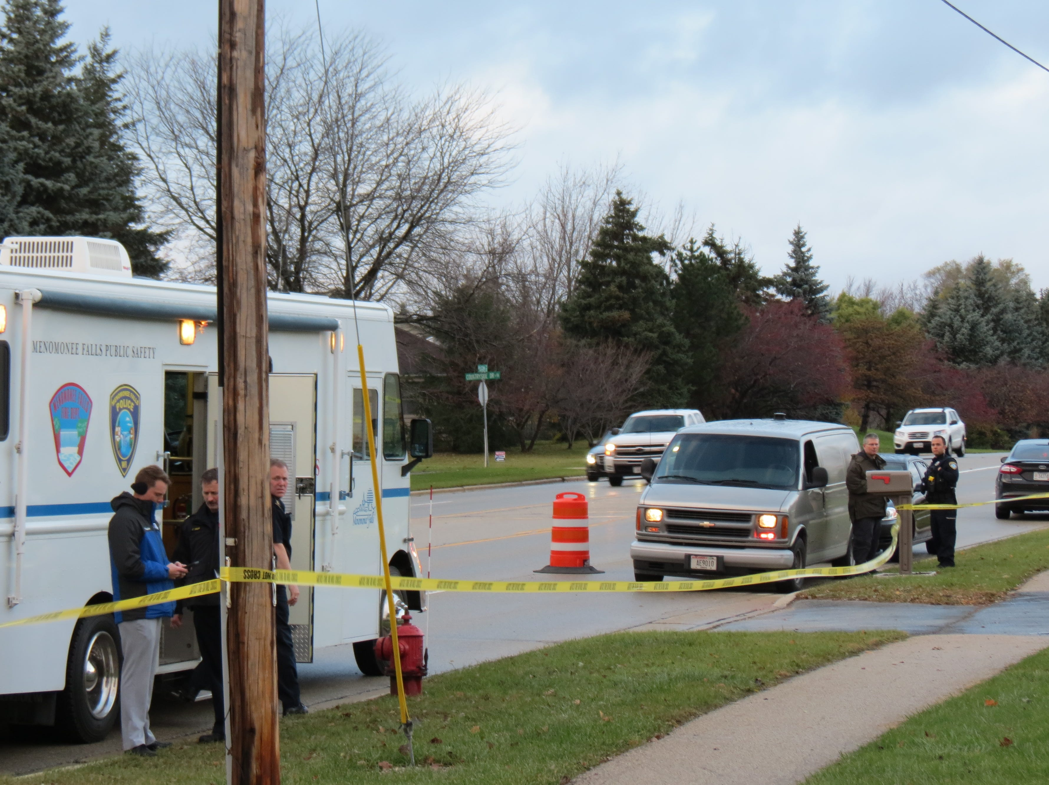 The scene after a reported shooting near Menomonee Falls' River of Life Church of God. The church is on Pilgrim Road.