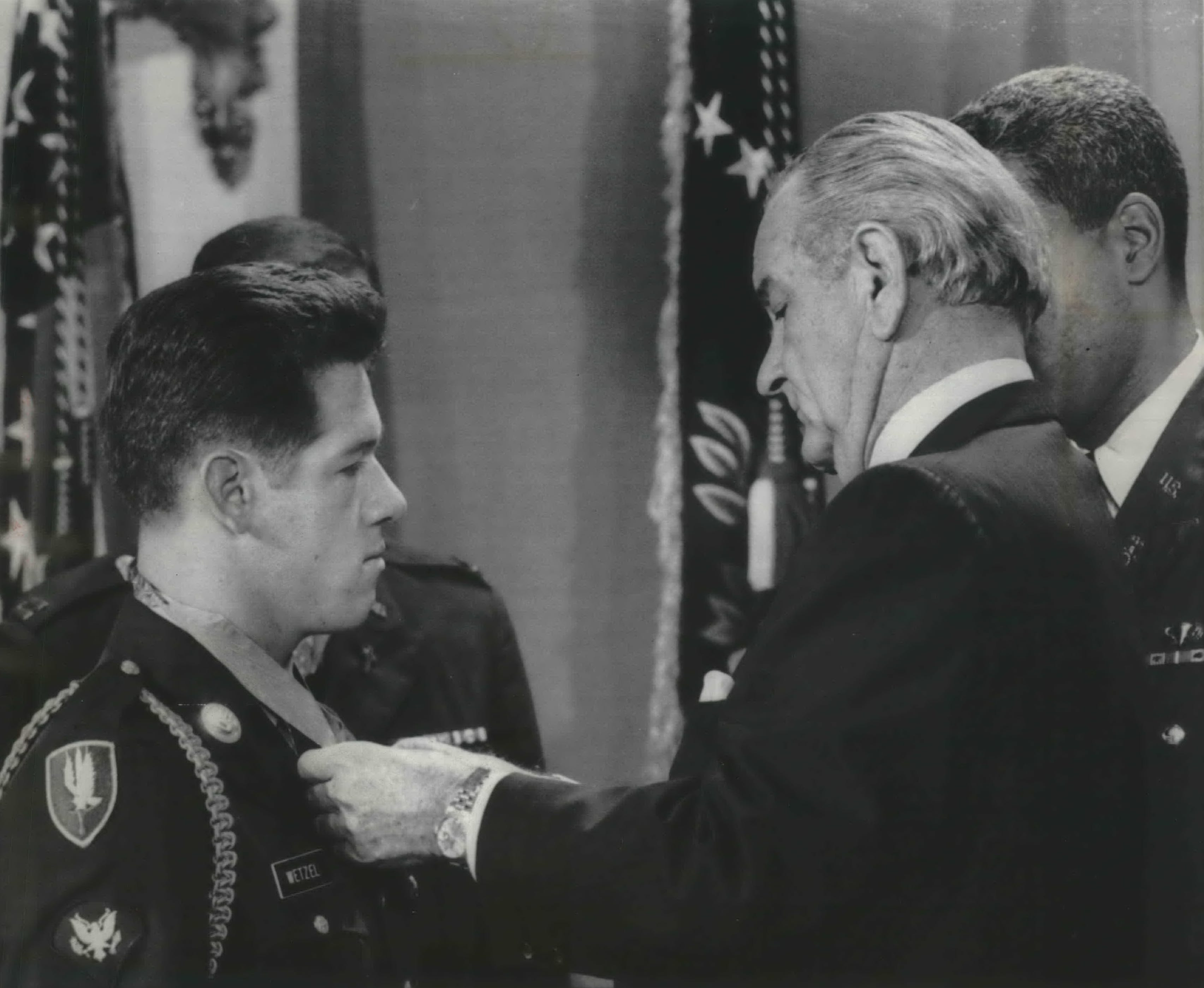 President Lyndon Johnson awards the Medal of Honor to South Milwaukee native Gary Wetzel at a White House ceremony on Nov. 19, 1968. This photo was published in the Nov. 19, 1968, Milwaukee Journal.