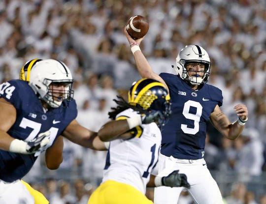 FILE - In this Oct. 21, 2017, file photo, Penn State quarterback Trace McSorley (9) throws a pass against Michigan during the first half of an NCAA college football game in State College, Pa. McSorley is expected to start this week against Michigan after missing part of last week's 30-24 win over No. 18 Iowa. (AP Photo/Chris Knight, File) ORG XMIT: NY156