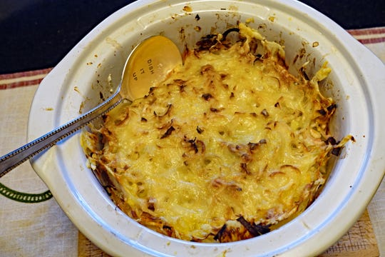 Rob Kujawski's onion casserole is baked ahead, then reheated in his slow cooker.