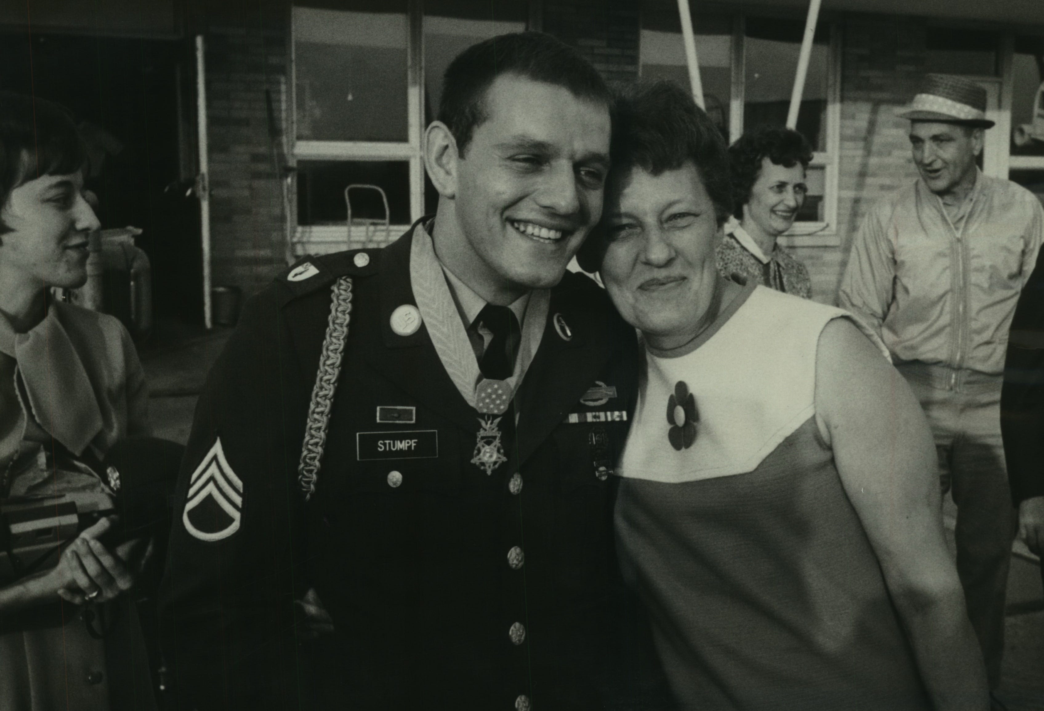 Wisconsin Medal of Honor recipient Kenneth E. Stumpf and his mother greet friends who had gathered at the Winnebago airport on Sept. 20, 1968, a day after he received the medal from President Lyndon Johnson in Washington. Nearly 500 people jammed the Menasha community square later in the evening to pay tribute to Stumpf, 23.