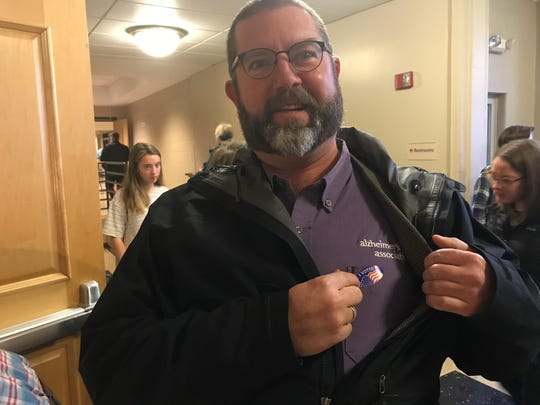 Tim Harrington was voter No. 2 at the Hart Park Senior Center in Wauwatosa on Tuesday morning