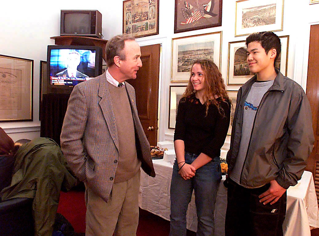 Washington, Jan 20--Congressman Rodney Frelinghuysen talks with Lisa Scharf and boyfriend Ethan King, both from Cedar Knolls. The two were given tickets by Rodney for the inauguration as well as the New York, Pennsylvania, New Jersey Ball at Union Station.