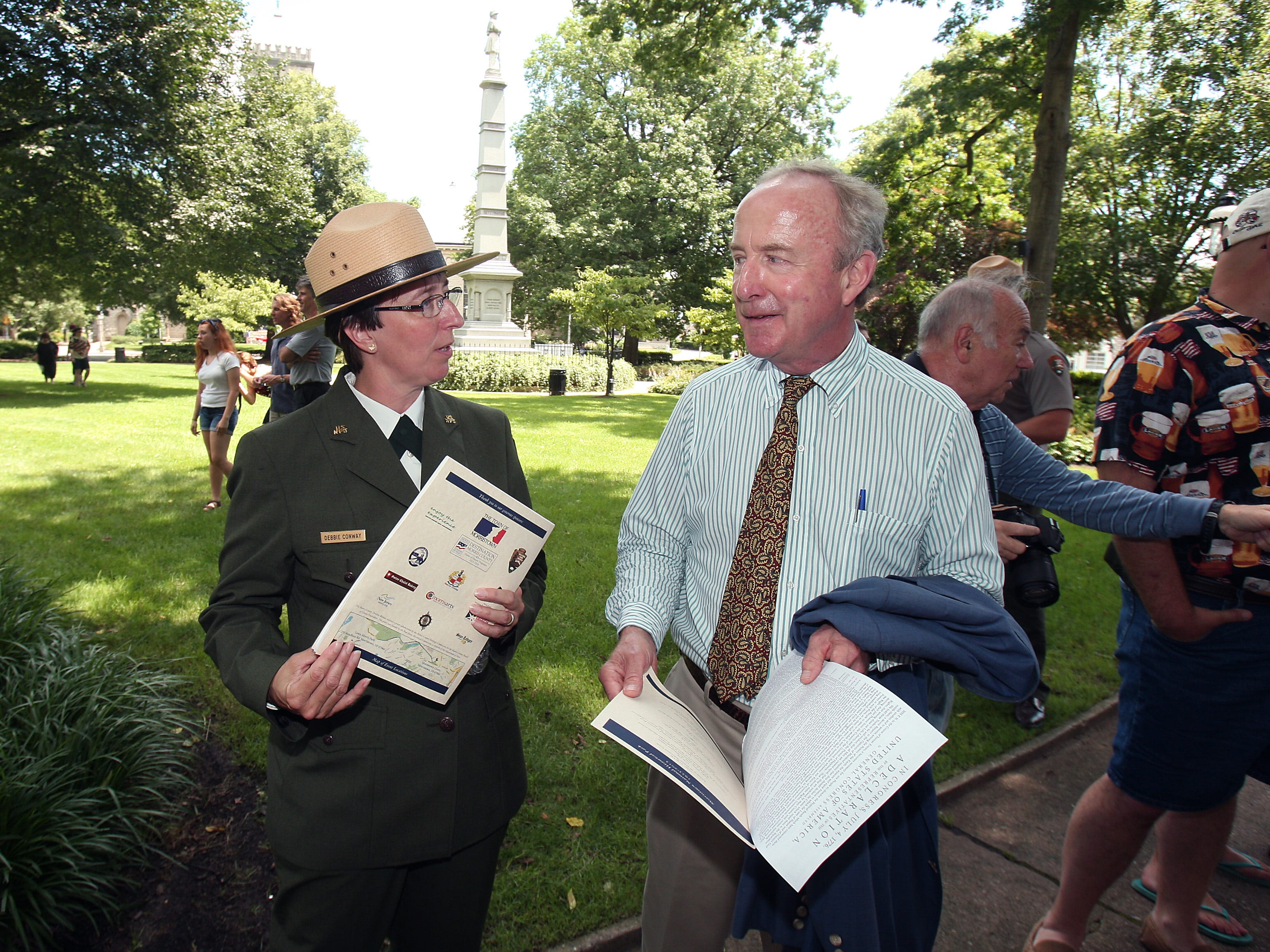 Morristown, NJ--July 4, 2013---Park Ranger Thomas J. Winslow reads the Declaration of Independence on the Morristown Green in celebration of Independence Day as well as the 80th anniversary of Morristown National Historical Park.