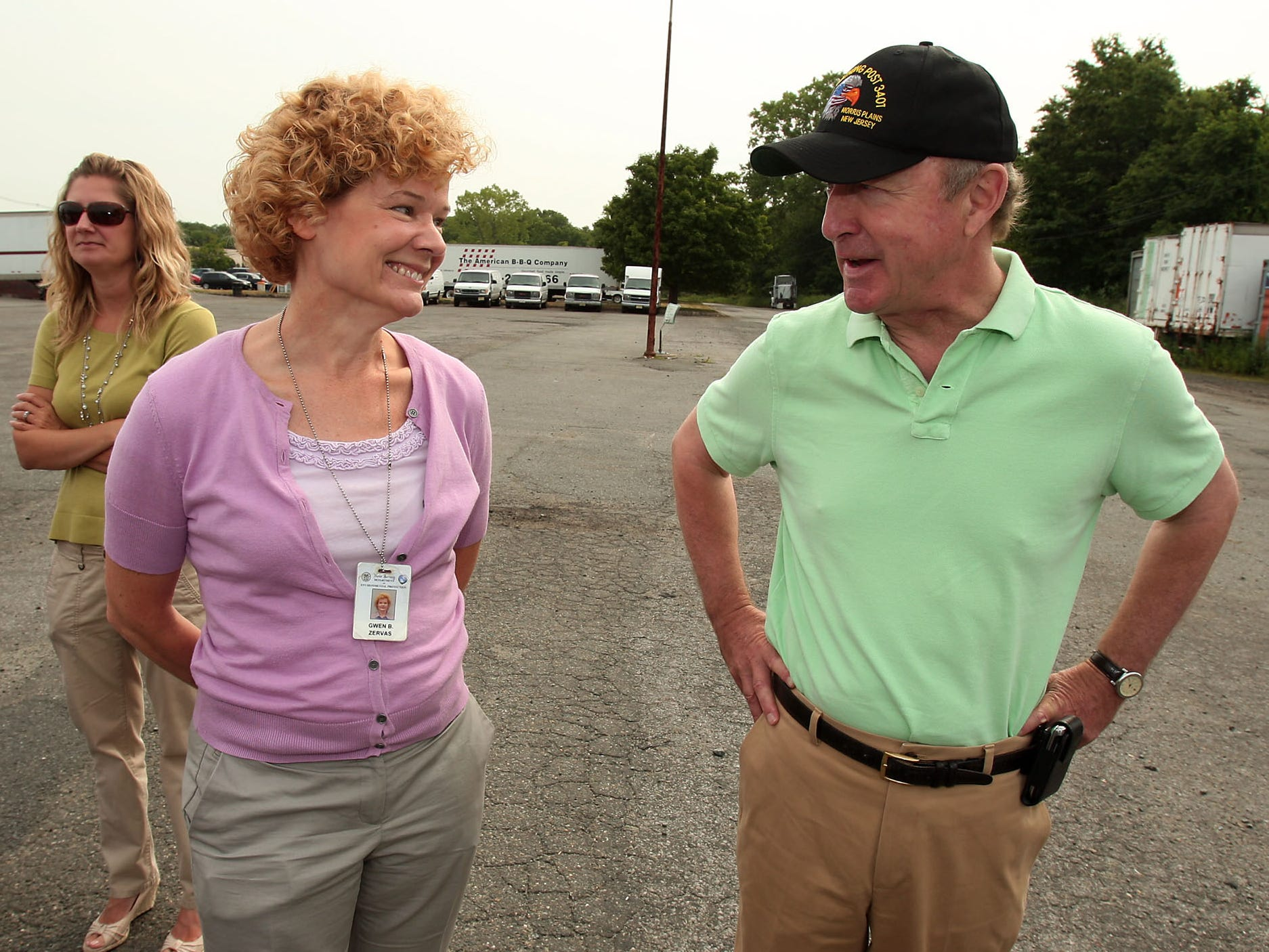 Denville Twp, 7/13/12--Gwen Zervas, Section Chief. Dept. of Environmental Protection speaks with Congressman Rodney Frelinghuysen at the Denville Technical Park. Frelinghuysen toured six Superfund sites today around Morris and Essex county.