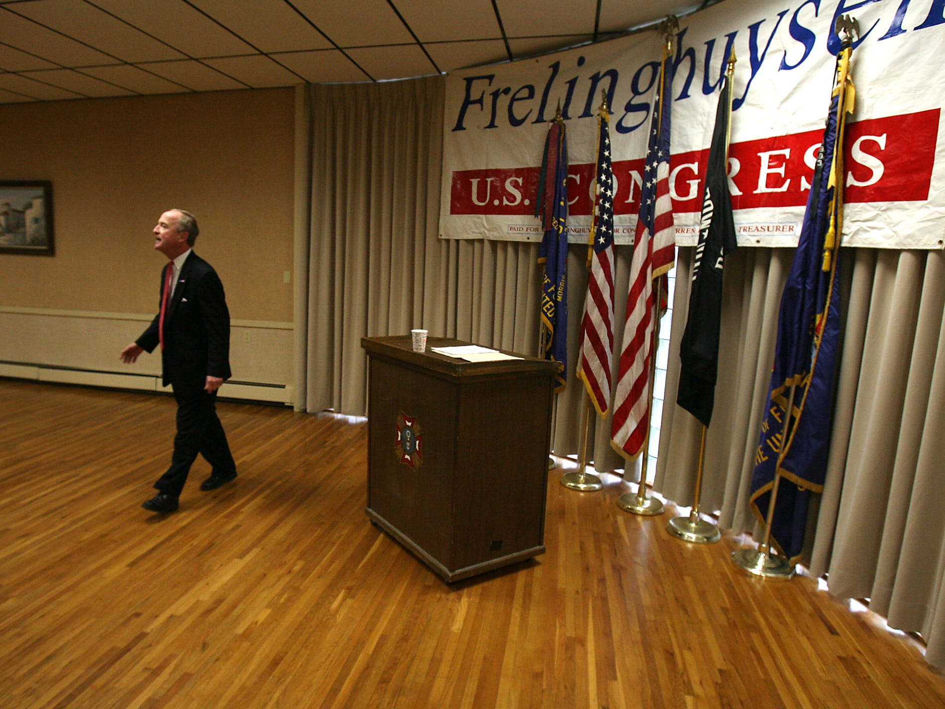 Morris Plains, March 22, 2010--Congressman Rodney Frelinghuysen , now in his 8th term announced at Morris Plains VFW Post 3401 that he would be running for re-election. Staff photo/Bob Karp 11447