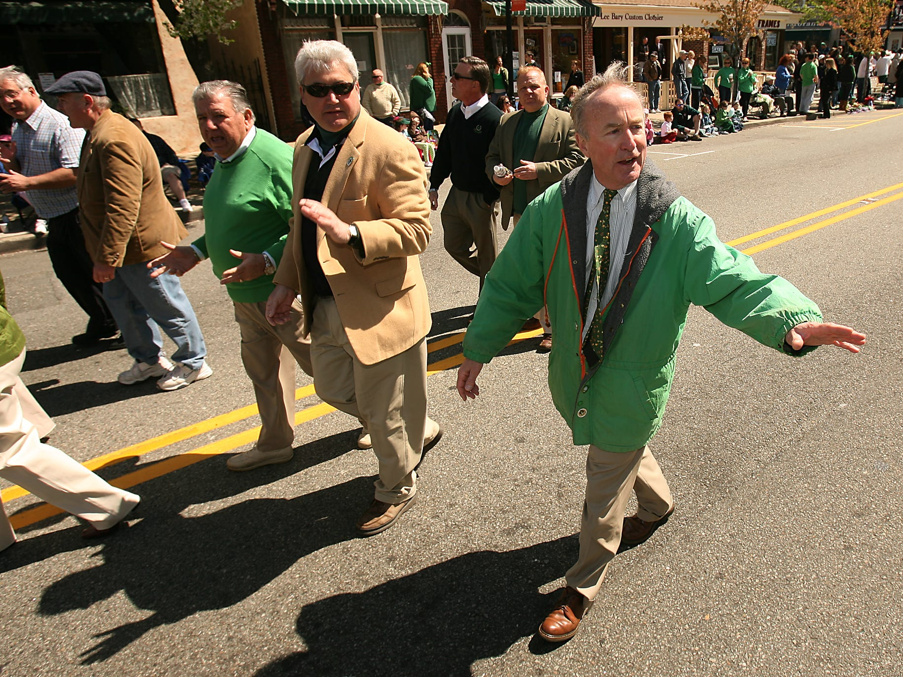 Morristown, April 10, 2010-- The 32nd annual Morris County St. PatrickÕs Day Parade, postponed at the last minute by severe weather on March 13, kicked off at noon Saturday, featuring grand marshal John Butler of Succasunna, with more than 100 groups and 20 bands taking part.