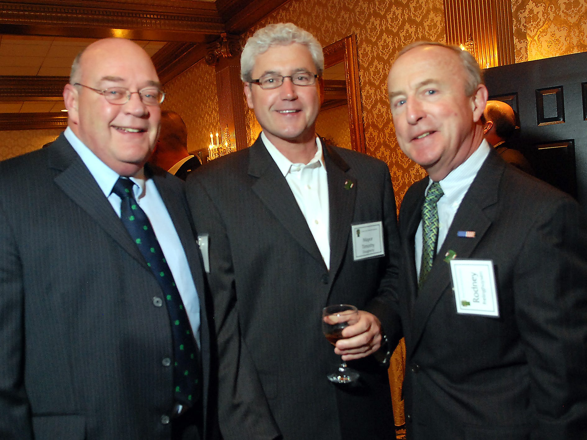 Convent Station, March 2, 2012 -- From left, Timothy Murphy of Morristown, Morristown mayor Timothy Dougherty, and U.S. Rep. Rodney Frelinghuysen. The annual Grand Marshal reception at the Madison Hotel. This year's Grand Marshal is Rich Smith.
