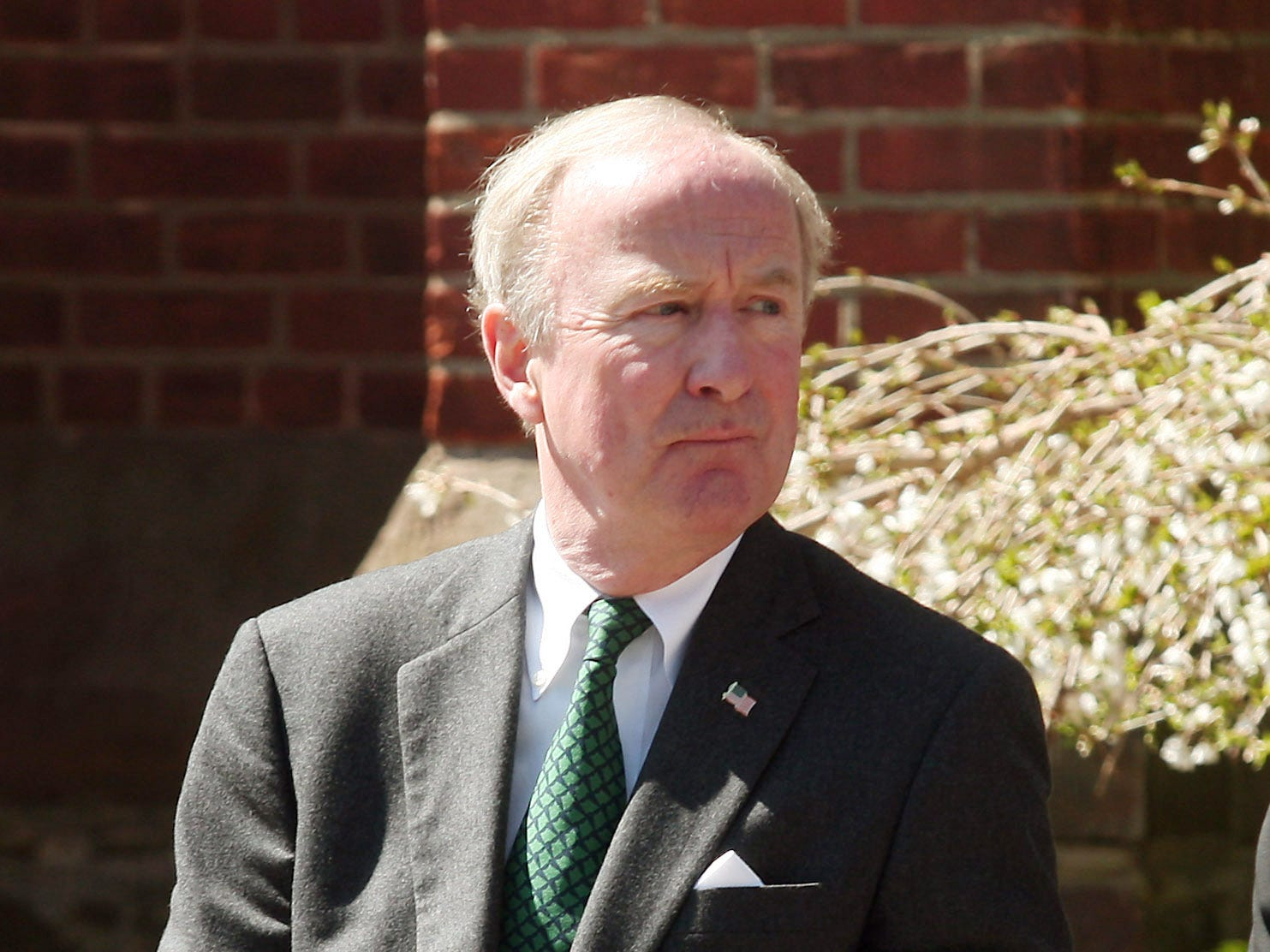 Congressman Rodney Frelinghuysen leaves the the Church of the Assumption in Morristown after funeral Mass for Col. Peter J. O'Hagan Jr., where Freinghuysen gave the eulogy for the former Morris County Freeholder & Mayor of Morris Twp. April 17, 2014, Morristown, NJ. Bob Karp/staff photographer