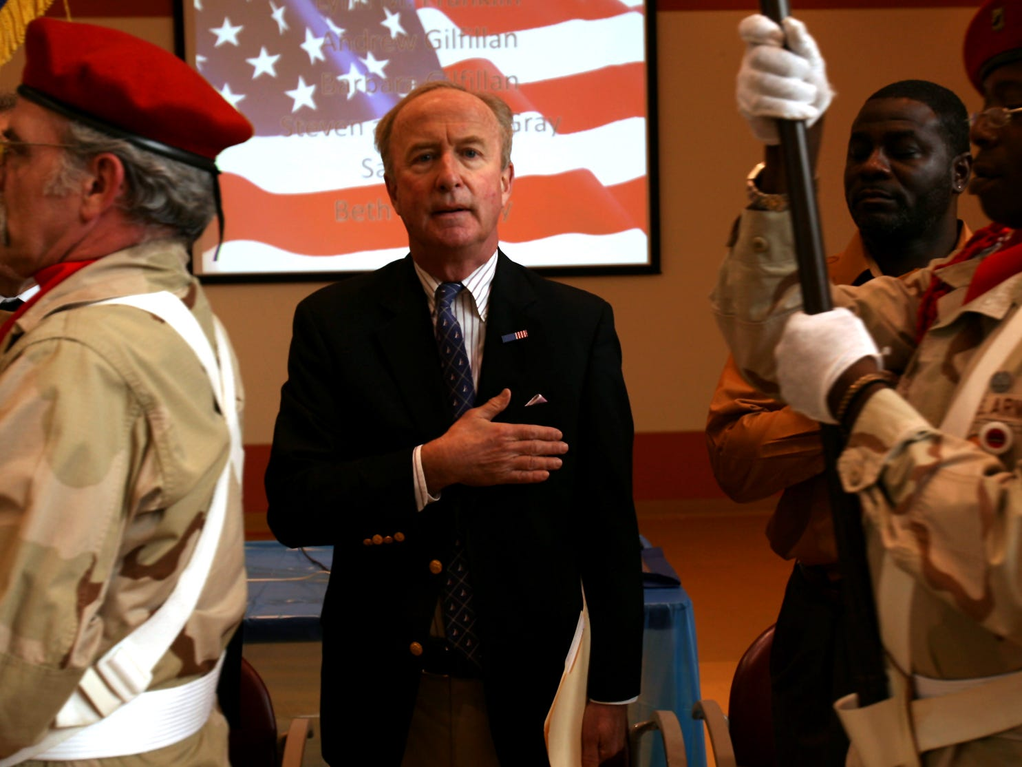 Bernards Twp, April 9, 2010--Congressman Rodney Frelinghuysen covers his heart during the presentation of colors as he officiated at the fifth anniversary of the Hope for Veterans project at the Lyons Veterans Affairs campus.