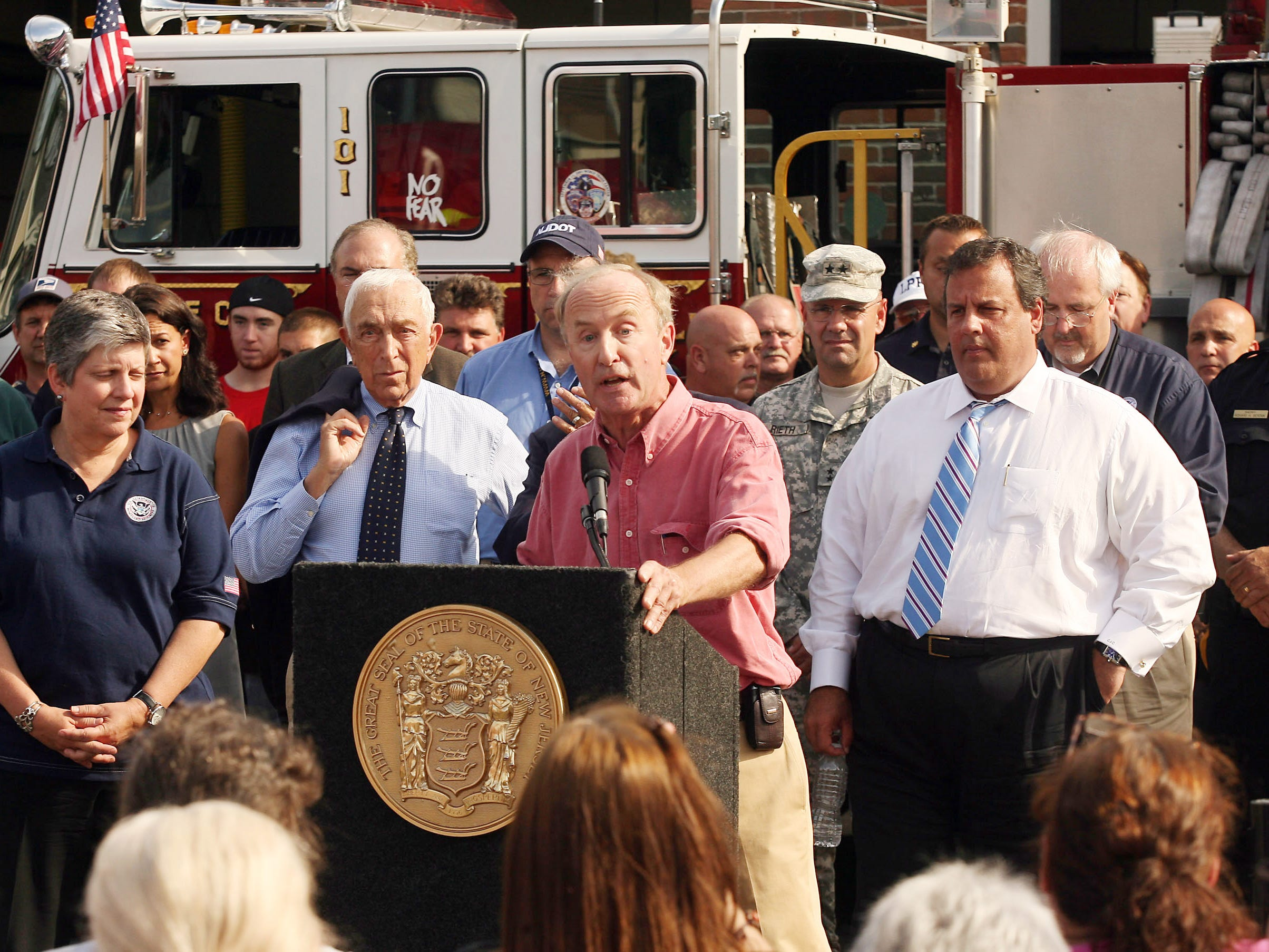 Congressman Rodney Frelinghuysen, c, speaks joined by Department of Homeland Security Secretary Janet Napolitano, Sen. Frank Lautenberg, D-NJ, and New Jersey Gov. Chris Christie at Lincoln Park Fire Department Hose Co. 1 as Obama administration officials continue to tour the eastern seaboard in the aftermath of Hurricane Irene.