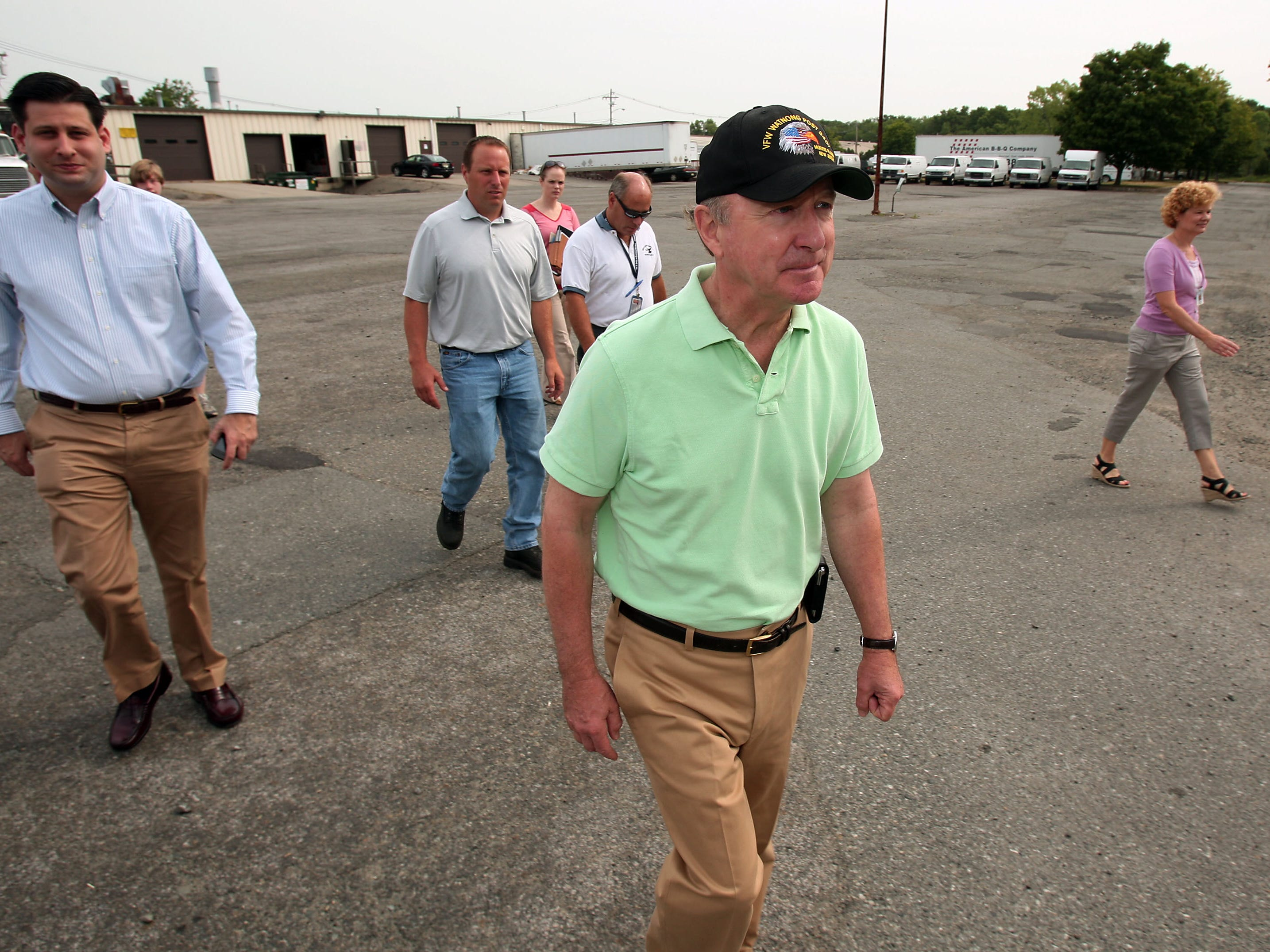 Denville Twp, 7/13/12-- Congressman Rodney Frelinghuysen arrives at the Denville Technical Park. Frelinghuysen toured six Superfund sites today around Morris and Essex county.