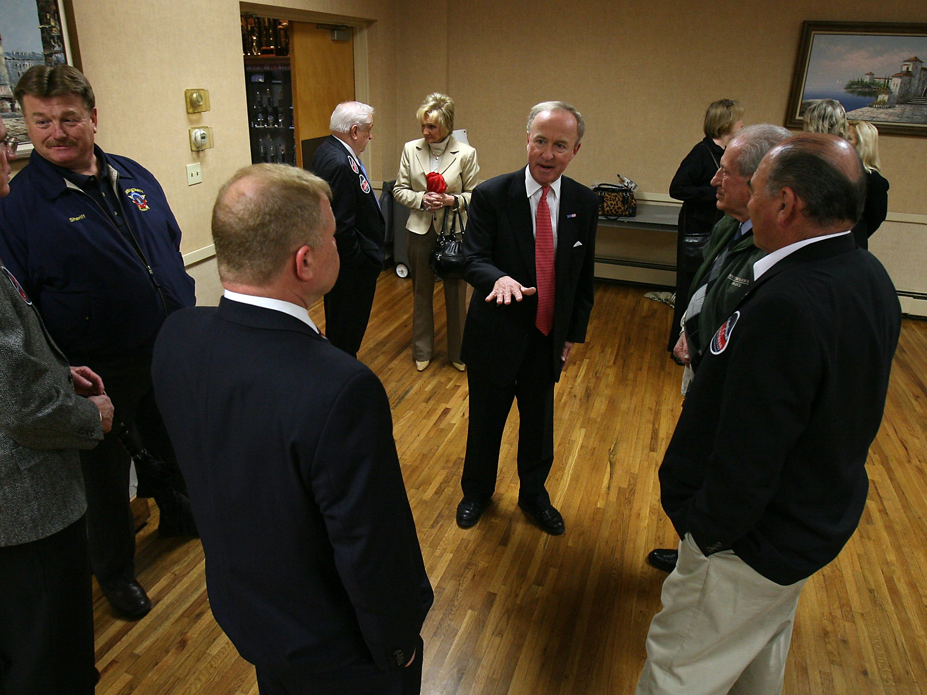 Morris Plains, March 22, 2010--Congressman Rodney Frelinghuysen, c, Talks to supporters at the Morris Plains VFW Post 3401 before he announced he would be running for re-election.