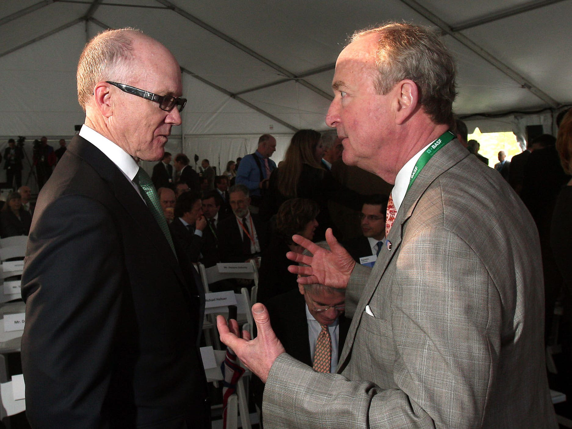 Florham Park, 5/4/12---NY Jets owner Woody Johnson, l, talks with Congressman Rodney Frelinghuysen before the official opening of BASF's new North American headquarters building on Park Avenue in Florham Park. The 325,000 square foot building at The Green at Florham Park, is designed to achieve LEED double Platinum certification.  