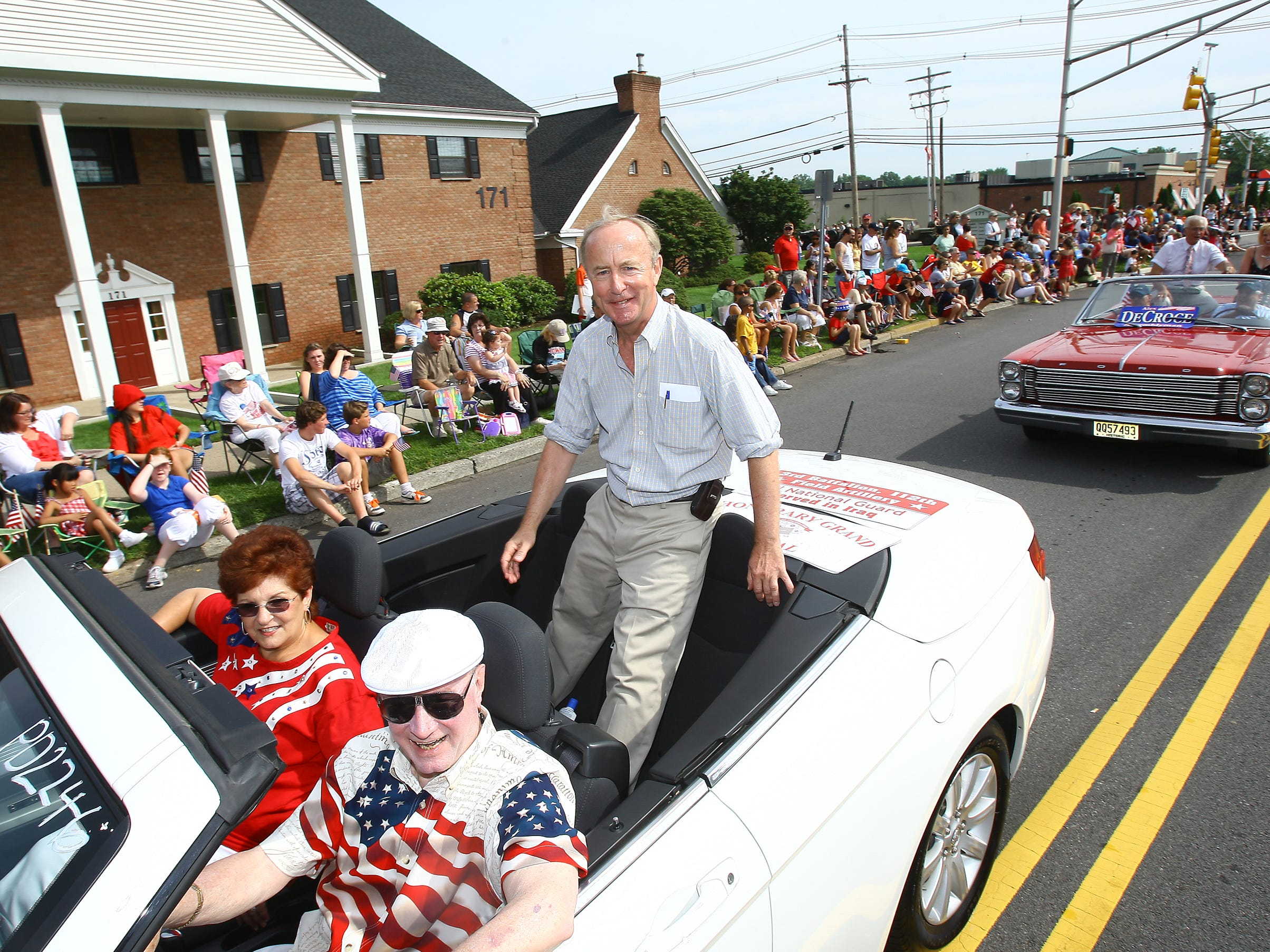 Florham Park, July 4, 2011--Congressman Rodney Frelinghuysen waves to the crowd at the  54th Annual Florham Park July 4th Celebration.
