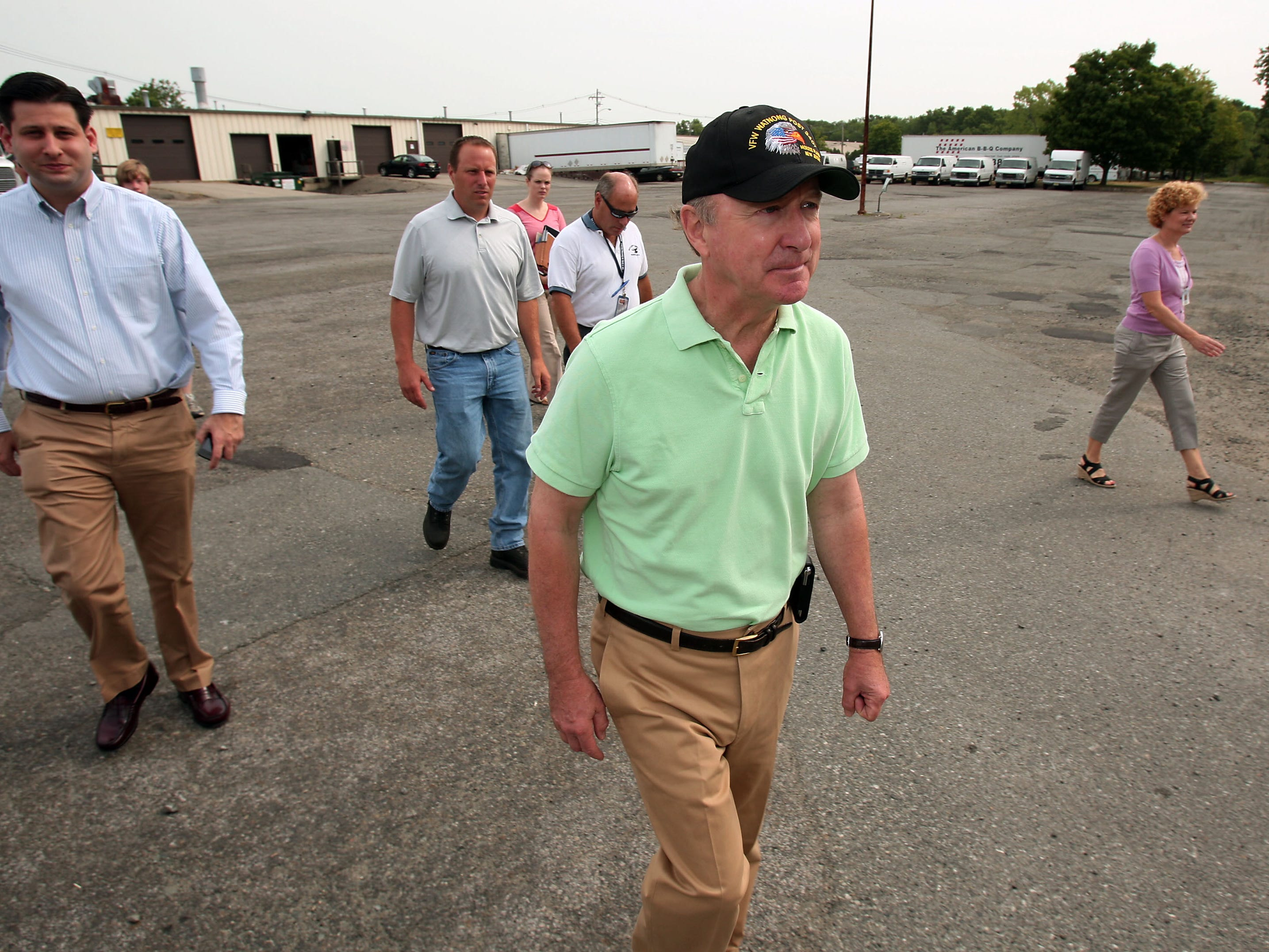 Rep. Rodney Frelinghuysen arrives at Denville Technical Park Friday during his tour of six Superfund sites in Morris and Essex counties. For an online photo gallery of the tour, go to DailyRecord.com. Bob Karp/Staff Photographer