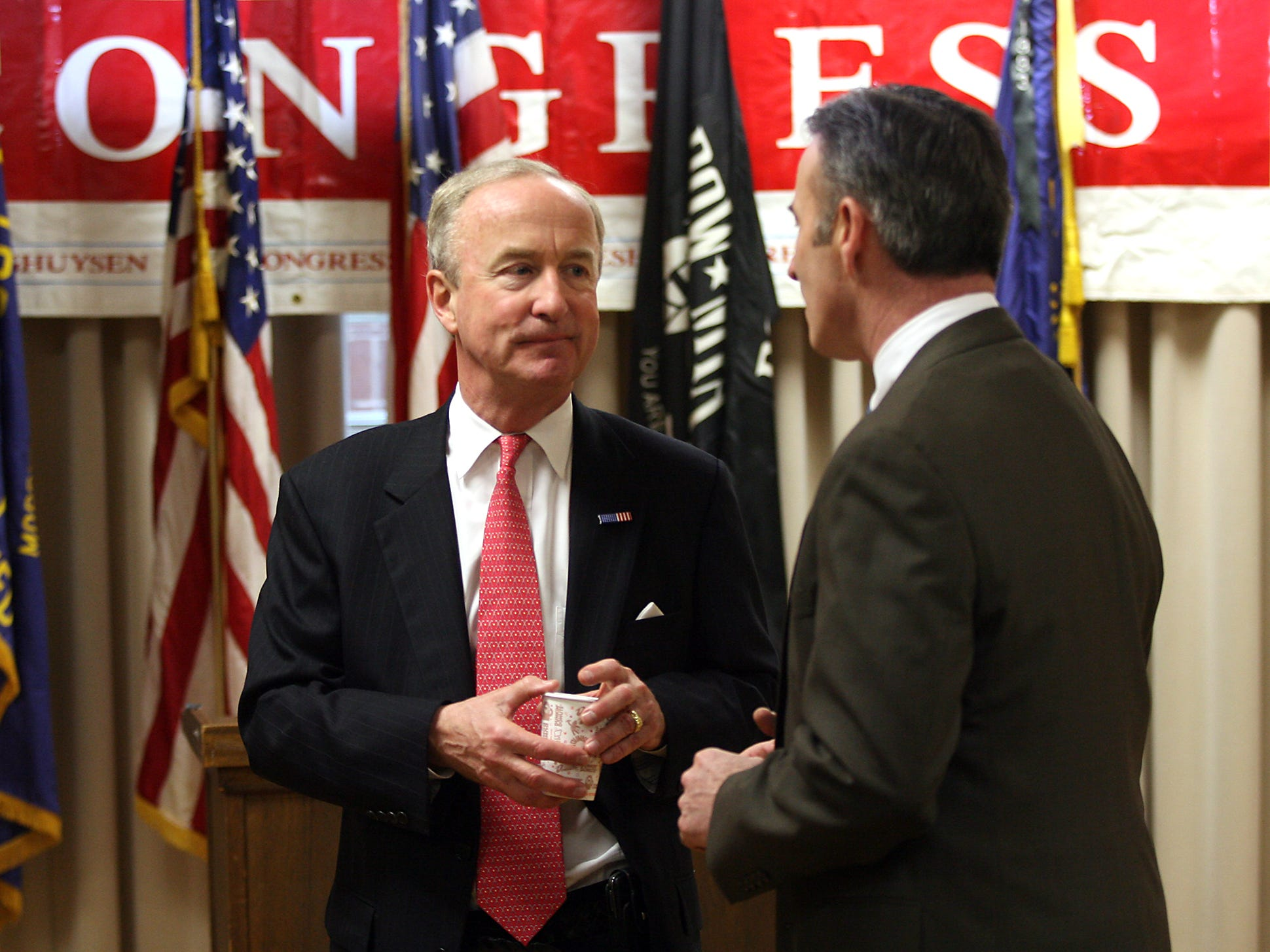 Morris Plains, March 22, 2010--Congressman Rodney Frelinghuysen, l, talks with Morris County Freeholder John Murphy after announcing at Morris Plains VFW Post 3401 that he would be running for re-election.