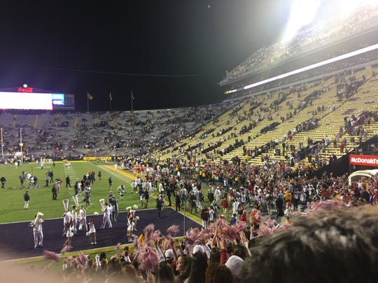 LSU's Tiger Stadium at the end of Alabama's 29-0 win over the Tigers.